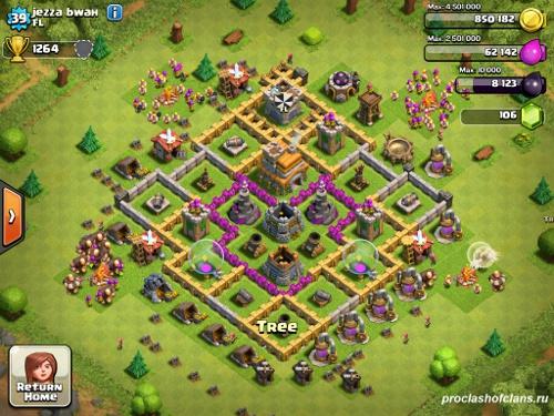 Первый пример базы  th7 clash of clans