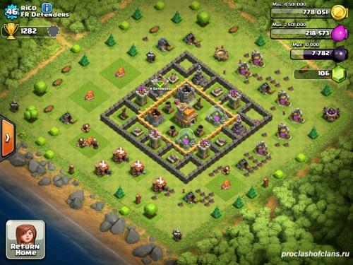 Второй пример базы  th7 clash of clans